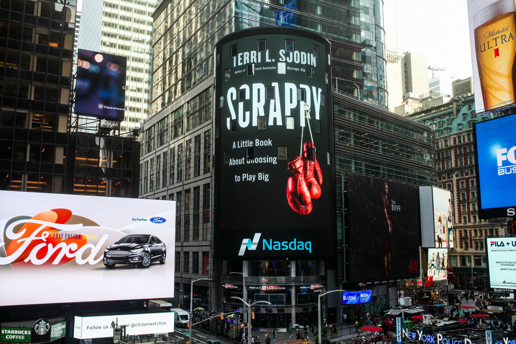 Scrappy Book Cover on the NASDAQ Screen in Time Square, NYC