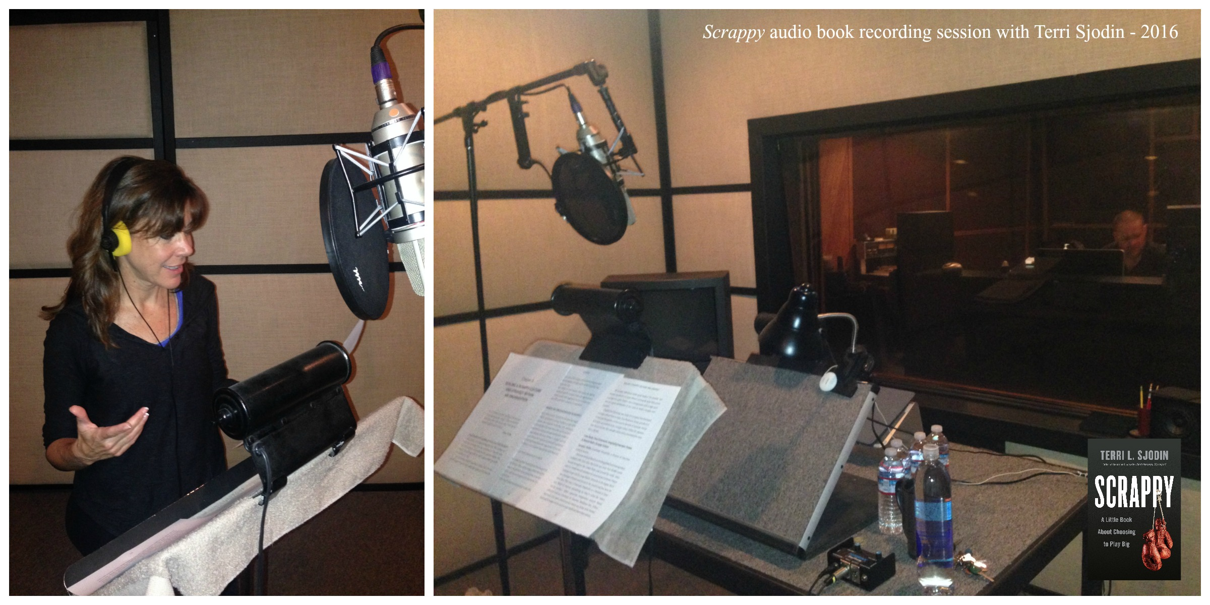 "Terri in the recording studio for the ""Scrappy"" audio book."