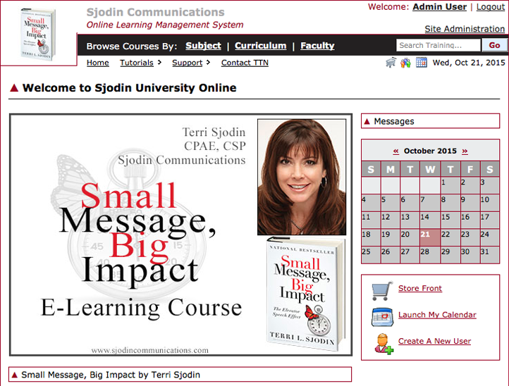 Image: 3. SMBI Online Training homepage via Sjodin Communication University