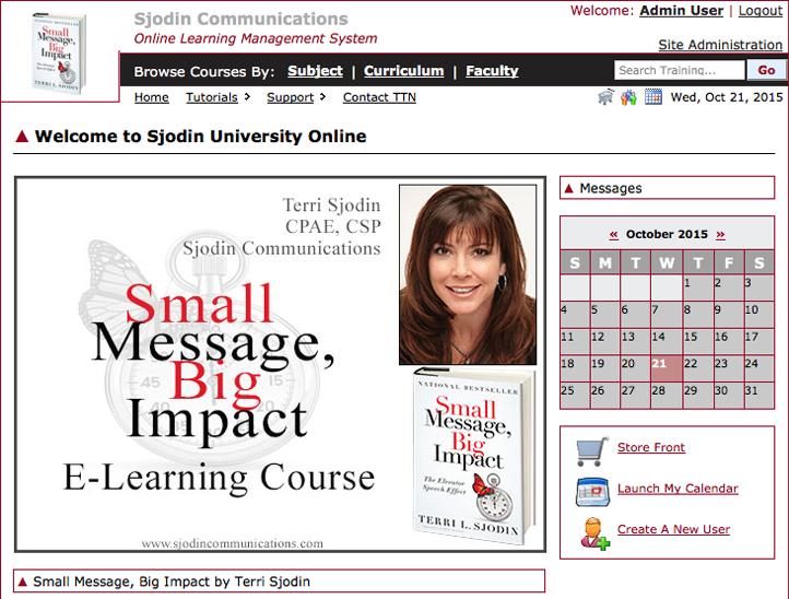 Image: 3. SMBI Online Training homepage via Sjodin Communication University